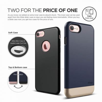Elago S7 Glide Case + HD Clear Film - поликарбонатов кейс и HD покритие за iPhone 7 (тъмносин-златист) 2