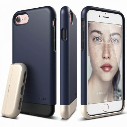 Elago S7 Glide Case + HD Clear Film - поликарбонатов кейс и HD покритие за iPhone 7 (тъмносин-златист)