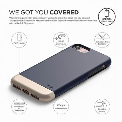 Elago S7 Glide Case + HD Clear Film - поликарбонатов кейс и HD покритие за iPhone 7 (тъмносин-златист) 6