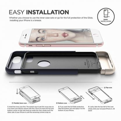 Elago S7 Glide Case + HD Clear Film - поликарбонатов кейс и HD покритие за iPhone 7 (тъмносин-златист) 8