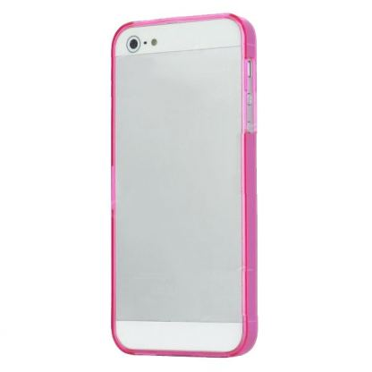 Ultra-Thin ABS Bumper - поликарбонатов бъмпер за iPhone 5 (розов-прозрачен) 3