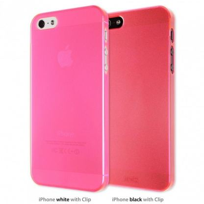 Artwizz SeeJacket® Clip Neon - поликарбонатов кейс за iPhone 5 (розов-прозрачен)