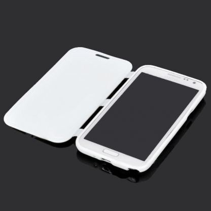 Flip Cover Case - хибриден кейс за Samsung Galaxy Note 2 N7100 (бял) 2