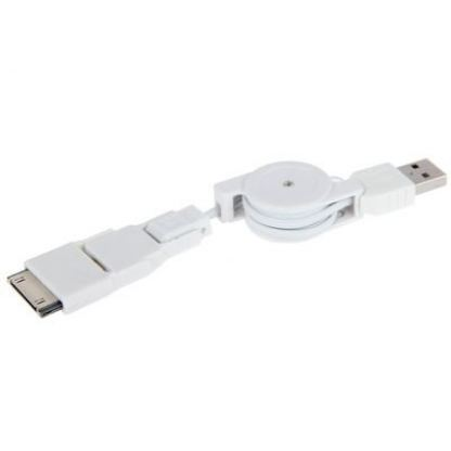 USB кабел с 3 преходника - Lightning , Micro USB, iPad ( за iPhone 5, iPhone 4/4S, iPad 2/3/4 , iPad Mini, Samsung, HTC ) 2