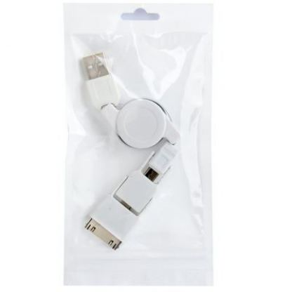 USB кабел с 3 преходника - Lightning , Micro USB, iPad ( за iPhone 5, iPhone 4/4S, iPad 2/3/4 , iPad Mini, Samsung, HTC ) 4