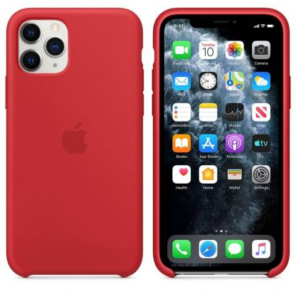 Apple Silicone Case КЛАС 1 - силиконов кейс за iPhone 11 Pro Max (червен)