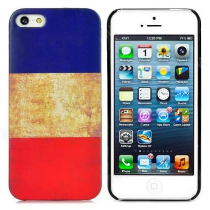 Retro Style French Flag - поликарбонатов кейс за iPhone 5