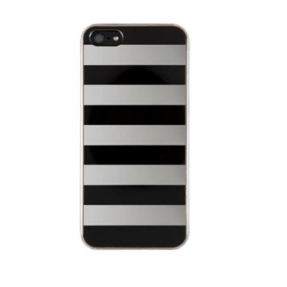 QDOS Metallics Mirror Stripes - дизайнерски кейс за iPhone 5 (черен-сребрист)