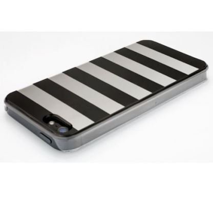 QDOS Metallics Mirror Stripes - дизайнерски кейс за iPhone 5 (черен-сребрист) 2