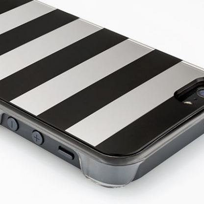 QDOS Metallics Mirror Stripes - дизайнерски кейс за iPhone 5 (черен-сребрист) 3