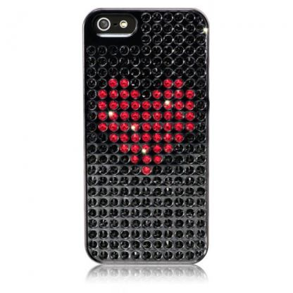 Bling My Thing Heart Extravaganza - кейс с кристали Сваровски за iPhone 5 (черен) 2