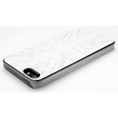QDOS Metallics Mirror Union Black - дизайнерски кейс за iPhone 5 (с британския флаг) - бял 2