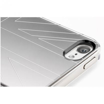 QDOS Metallics Mirror Union Black - дизайнерски кейс за iPhone 5 (с британския флаг) - бял 3
