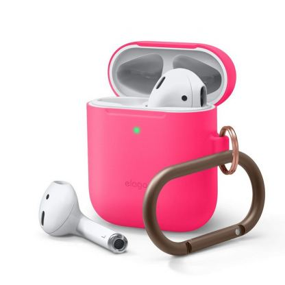 Elago Airpods Skinny Silicone Hang Case - тънък силиконов калъф с карабинер за Apple Airpods и Apple Airpods 2 with Wireless Charging Case (розов-фосфор)