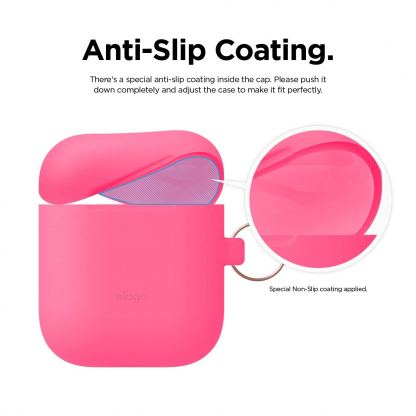 Elago Airpods Skinny Silicone Hang Case - тънък силиконов калъф с карабинер за Apple Airpods и Apple Airpods 2 with Wireless Charging Case (розов-фосфор)  2