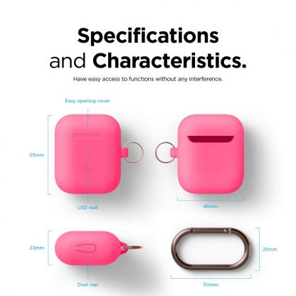 Elago Airpods Skinny Silicone Hang Case - тънък силиконов калъф с карабинер за Apple Airpods и Apple Airpods 2 with Wireless Charging Case (розов-фосфор)  5