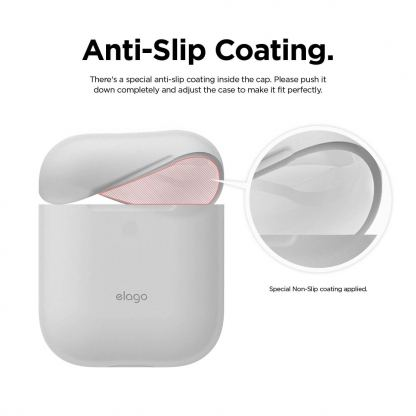 Elago Airpods Skinny Silicone Case - тънък силиконов калъф за Apple Airpods и Apple Airpods 2 with Wireless Charging Case (бял-фосфор)  6