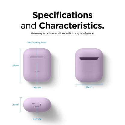 Elago Airpods Skinny Silicone Case - тънък силиконов калъф за Apple Airpods и Apple Airpods 2 with Wireless Charging Case (лилав)  3