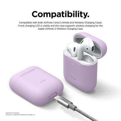 Elago Airpods Skinny Silicone Case - тънък силиконов калъф за Apple Airpods и Apple Airpods 2 with Wireless Charging Case (лилав)  4