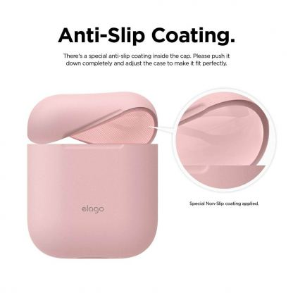 Elago Airpods Skinny Silicone Case - тънък силиконов калъф за Apple Airpods и Apple Airpods 2 with Wireless Charging Case (розов)  4
