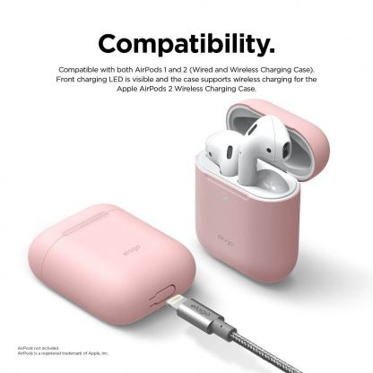 Elago Airpods Skinny Silicone Case - тънък силиконов калъф за Apple Airpods и Apple Airpods 2 with Wireless Charging Case (розов)  5