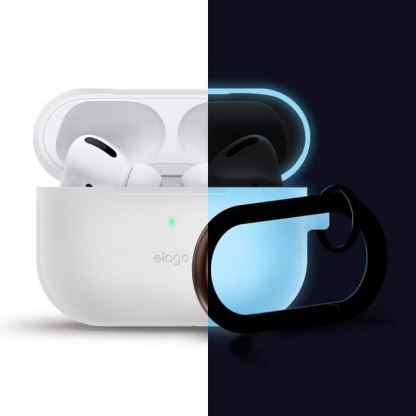 Elago Airpods Slim Hang Silicone Case - силиконов калъф с карабинер за Apple Airpods Pro (бял-фосфор)