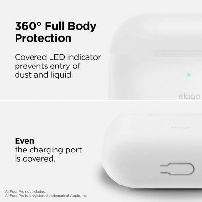 Elago Airpods Slim Hang Silicone Case - силиконов калъф с карабинер за Apple Airpods Pro (бял-фосфор) 6