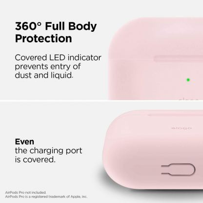 Elago Airpods Slim Basic Silicone Case - тънък силиконов калъф за Apple Airpods Pro (розов) 3