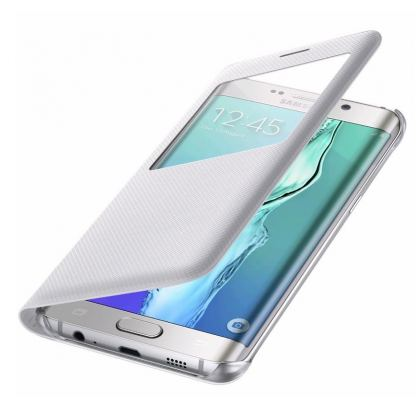 Samsung S-View Cover EF-CG928PWEGWW - оригинален кожен калъф за Samsung Galaxy S6 Edge Plus (бял)