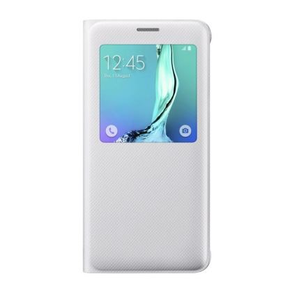 Samsung S-View Cover EF-CG928PWEGWW - оригинален кожен калъф за Samsung Galaxy S6 Edge Plus (бял) 2