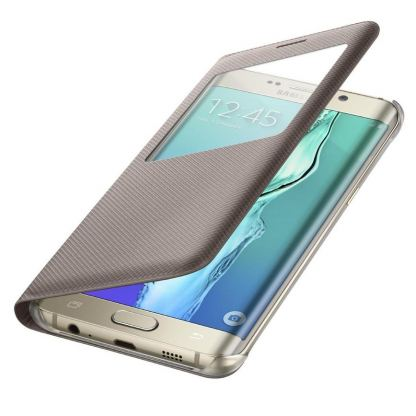 Samsung S-View Cover EF-CG928PFEGWW - оригинален кожен калъф за Samsung Galaxy S6 Edge Plus (златист)