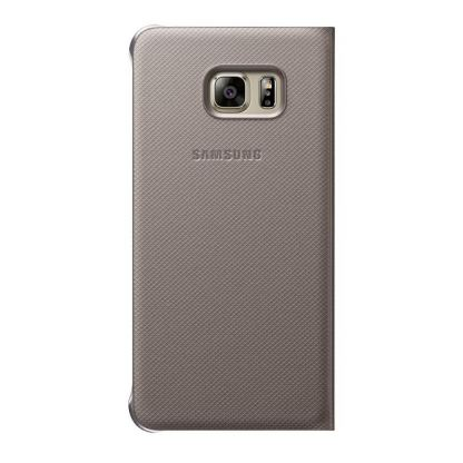Samsung S-View Cover EF-CG928PFEGWW - оригинален кожен калъф за Samsung Galaxy S6 Edge Plus (златист) 3