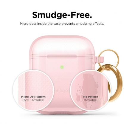 Elago Airpods TPU Hang Case - силиконов (TPU) калъф с карабинер за Apple Airpods и Apple Airpods 2 (светлорозов)  5