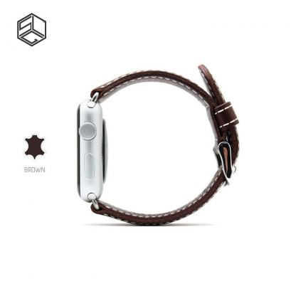 SLG G6 Stripe Leather - дизайнерска кожена каишка за Apple Watch 38 mm (кафяв)