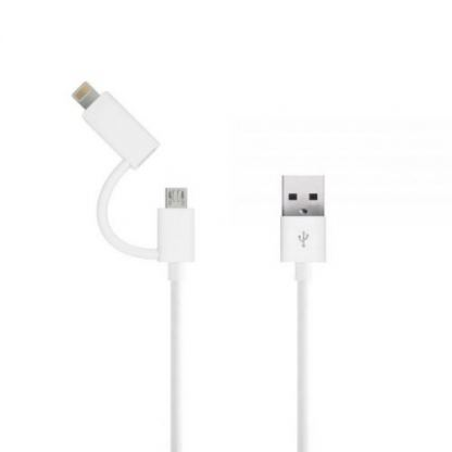 Just Wireless 2in1 Micro USB & Lightning Charge & Sync Cable - кабел за Apple Lightning и устройства с MicroUSB (бял)