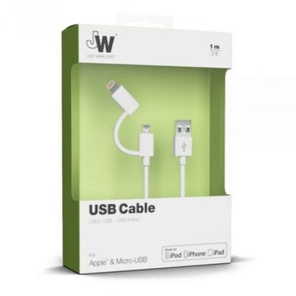 Just Wireless 2in1 Micro USB & Lightning Charge & Sync Cable - кабел за Apple Lightning и устройства с MicroUSB (бял) 2