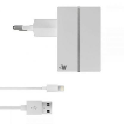 Just Wireless USB AC Charger - захранване за ел. мрежа с USB изход и Lightning кабел за iPhone, iPad и устройства с Lightning порт (бял)