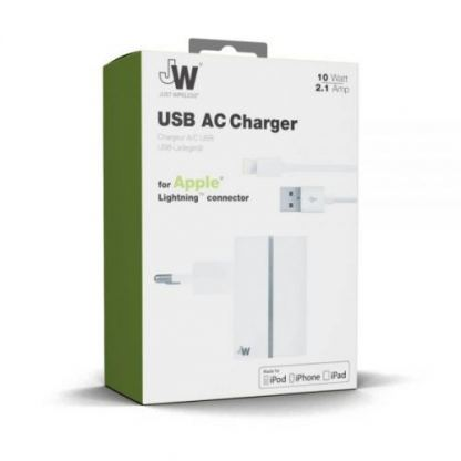 Just Wireless USB AC Charger - захранване за ел. мрежа с USB изход и Lightning кабел за iPhone, iPad и устройства с Lightning порт (бял) 2