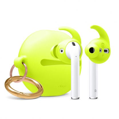 Elago Airpods Hook Cover with Carrying Pouch Case - силиконов калъф с карабинер и силиконови накрайници за Apple Airpods и Apple Airpods 2 (зелен-фосфор)