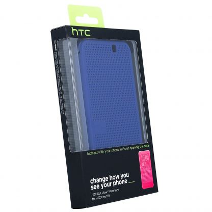 HTC Case Dot Flip HC M231 - оригинален кейс с активен капак за HTC One 3 M9 (син) 2