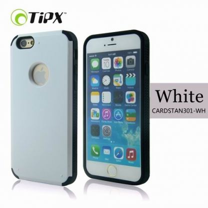 TIPX Cardstan Case - удароустойчив хибриден кейс за iPhone 6 Plus, iPhone 6S Plus (бял)