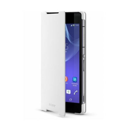 Sony Style Cover SCR10 - кожен кейс и поставка за Sony Xperia Z2 black (бял)
