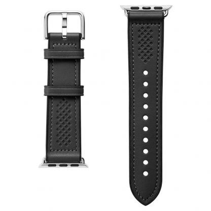 Spigen Retro Fit Band - кожена каишка за Apple Watch 42mm, 44mm (черен) 5