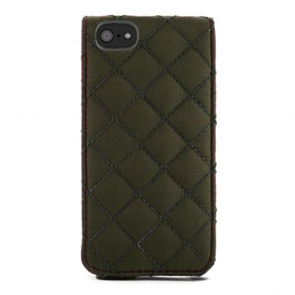 Proporta Barbour Quilted Leather Flip Case - дизайнерски кожен флип кей за iPhone SE, iPhone 5S, iPhone 5 (зелен) 3