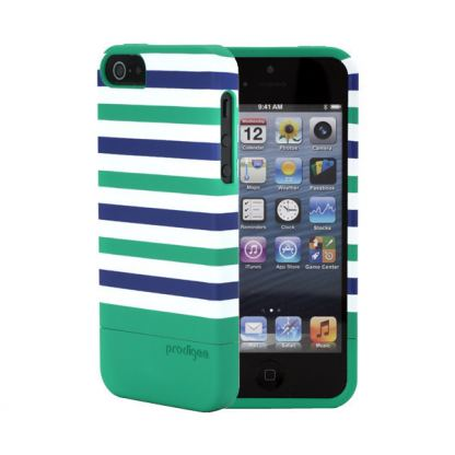Prodigee Stripes Case - поликарбонатов слайдер кейс за iPhone SE, iPhone 5S, iPhone 5 (зелен) 5