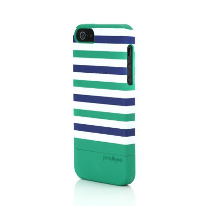 Prodigee Stripes Case - поликарбонатов слайдер кейс за iPhone SE, iPhone 5S, iPhone 5 (зелен) 4