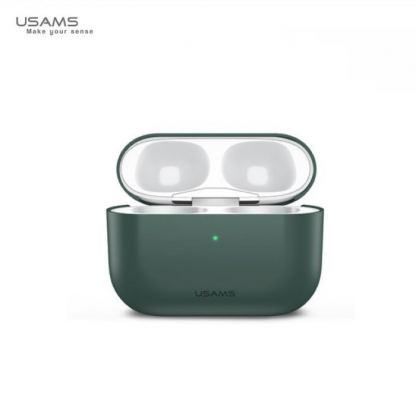 USAMS Ultra-Thin Silicone Case - силиконов калъф за Apple Airpods Pro (зелен) 4