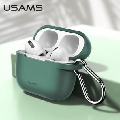 USAMS Airpods Pro Silicone Case - силиконов калъф с карабинер за Apple Airpods Pro (зелен) 2