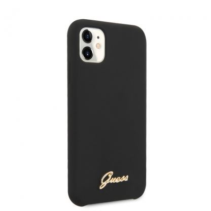 Guess Hard Silicone Case - силиконов (TPU) калъф за iPhone 11 (черен) 2