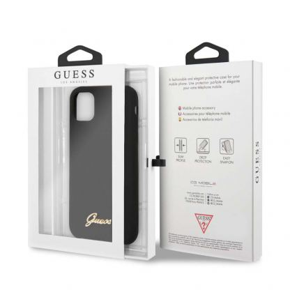 Guess Hard Silicone Case - силиконов (TPU) калъф за iPhone 11 (черен) 4